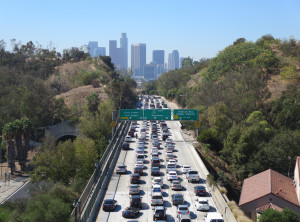 Motorists pausing to enjoy their wonderful view of downtown.
