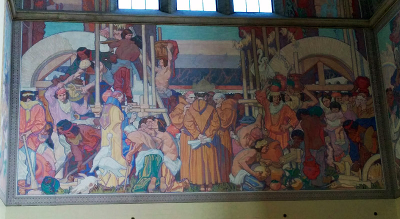One of the many murals in the central atrium