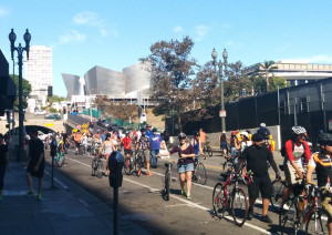 Ciclavia looking back at Disney Hall